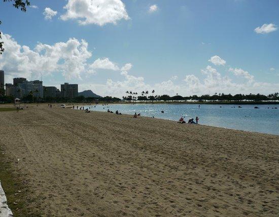 Ala Moana Beach Park: ビーチからダイヤモンドヘッド側(海の後ろには公園があり木陰がある)