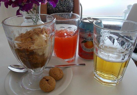 The Landing: Exquisite Amaretto / espresso / ice-cream dessert on the left