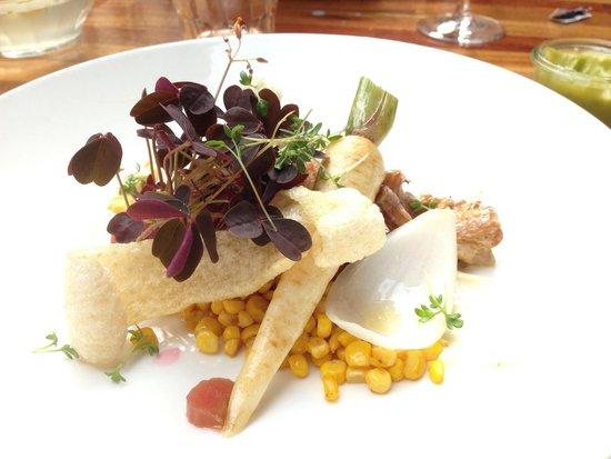 Restaurant Maven: Pork belly with chanterelle, parsnip, corn and rhubarb.