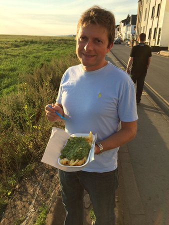 Parkgate Fish and Chips: Chips and mushy peas. A staple of Parkgate