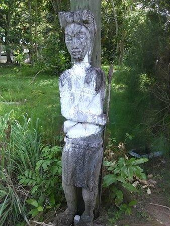 Maya-Ruinen von Altun Ha: A Mayan wood carving