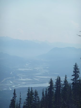 Eagle's Eye Restaurant - Kicking Horse Mountain Resort: going down on the gondola, smoky columbia valley wetlands.