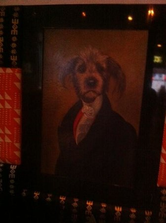 Escalon Neumannsgate: Painting in the restaurant of labradoodle dressed up for dinner