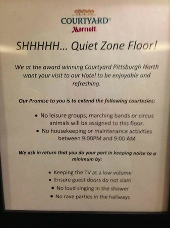Courtyard Pittsburgh North/Cranberry Woods: Fifth floor was a quiet zone floor.