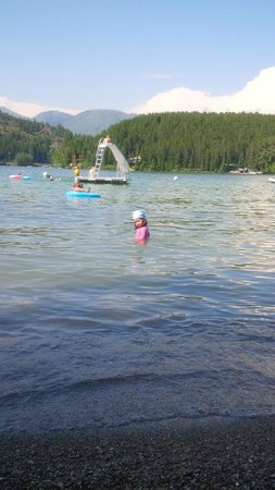 Lake Five Resort: swimming out to the floating slide