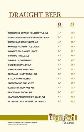 Boomtown Pub and Patio: menu 08/2014