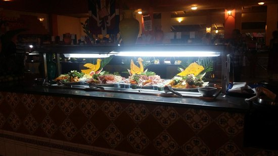 Caribe Club Princess Beach Resort & Spa: Buffet was lined with awesome food carvings.