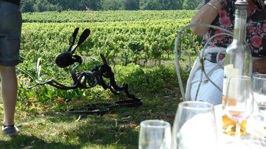 Bergerac Wine Tours: Humphrey's vineyard complete with wine label sculpture!