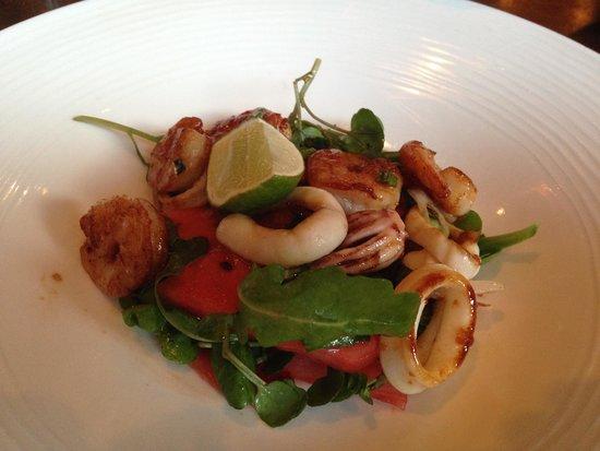 Rocpool Restaurant: Vorspeise mit King Prawn und Calamari