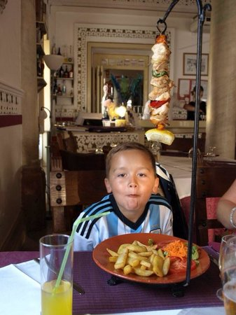 Restaurant Atrium : My son with his kebab. This is from the children's menu!