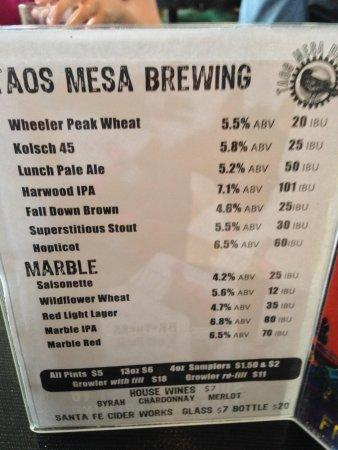 Taos Mesa Brewing : Beer Menu