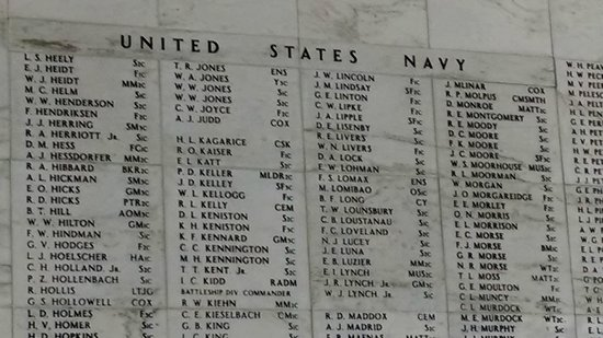 USS Arizona Memorial/WW II Valor in the Pacific National Monument : Roll Call of those entombed in the Arizona