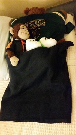 Country Inn & Suites By Carlson, New Orleans French Quarter : Housekeepers tucked in my twins stuffed animals!