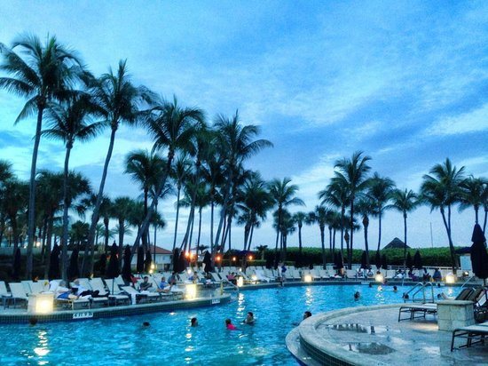 Fort Lauderdale Marriott Harbor Beach Resort & Spa: Beautiful pool during the day and night!