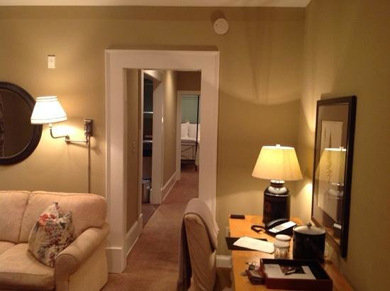 The James Madison Inn: view from the living room towards the bedroom in Suite 1