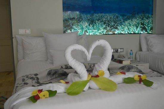 Paradisus Punta Cana Resort : Arreglo de cisnes de toallas hecho por Yahaia de Jesus