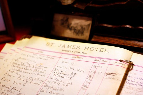 Saint James Hotel & Restaurant: Hotel guest book in the lobby