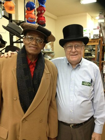 Meyer The Hatter: Sam Meyer (right) with long time customer