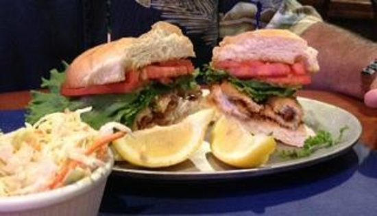 Fischers Happy Hour Tavern : Perch sandwich, with side of cole slaw.