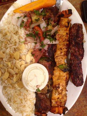 Sheesh Mediterranean Cuisine: Kabob platter