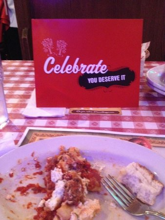 Buca di Beppo : Anniversary Card from our hostess!