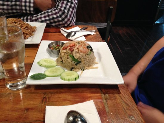 Khao San Road: green curry fried rice with chicken & shrimp