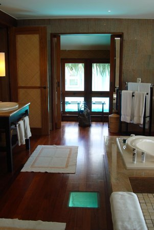 The St. Regis Bora Bora Resort: the bathroom...with a view to the ocean floor!
