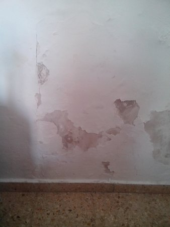 MedPlaya Hotel Rio Park: Damp and falling plaster about 1.5 metres square
