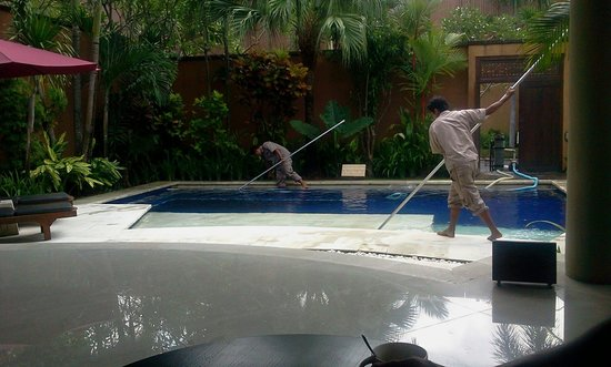 The Kunja Villas & Spa: Pool cleaning