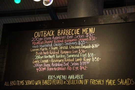Kings Canyon Resort : Menu w restauracji barbecue