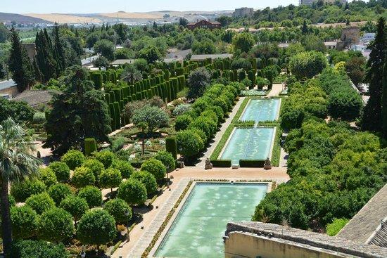 Alcázar de los Reyes Cristianos: Vista de los jardines desde la torre