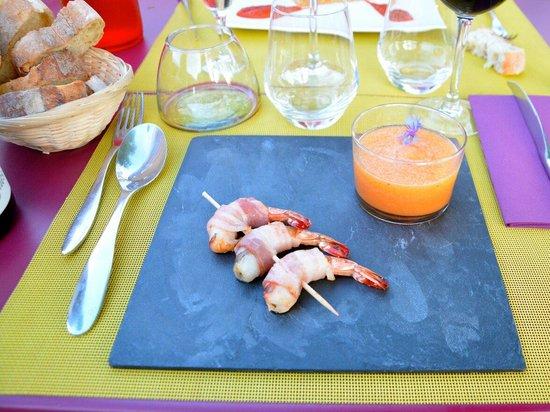Restaurant le Laurier : Soupe de melon et gambas