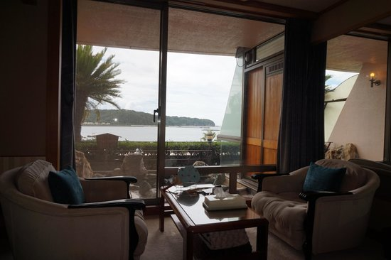 Kurofune Hotel: Have the option of curtaining off the on-sen when using it