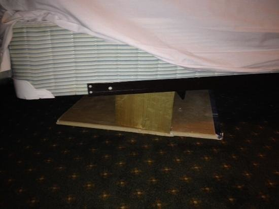 Owen Sound Inn : dirty matress and boards holding up bed