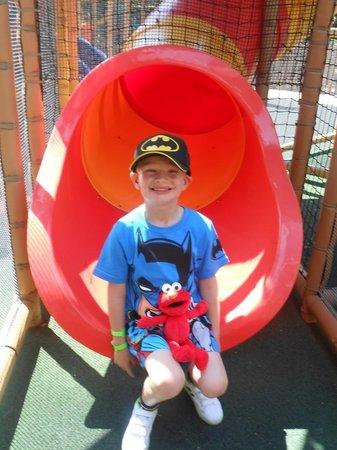 PortAventura Park: Rhys with Elmo.