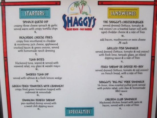 Menu Part 2 Picture Of Shaggy S Biloxi Tripadvisor