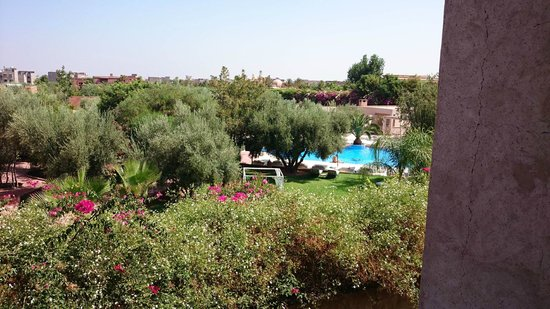 La Maison des Oliviers: View of the pool area from our private balcony