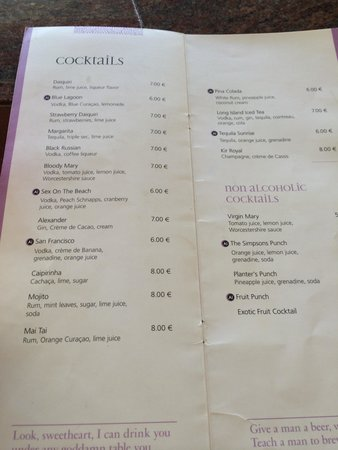 Kipriotis Hippocrates: 'Not quite all inclusive' cocktail menu.