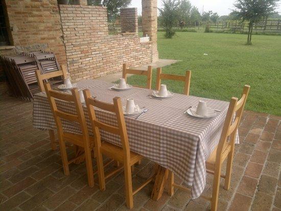 Agriturismo i Boschi di Fornio: tavolo della colazione immerso nel verde