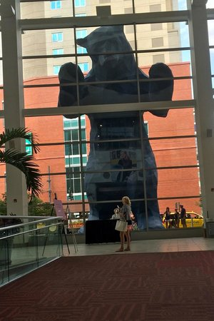 Banjo Billy's Bus Tours: The Big Blue Bear from inside the Convention Center.