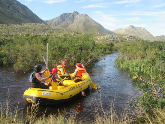 SA Forest Adventures Kleinmond: Starting with the tame stuff - heading for the rapids.
