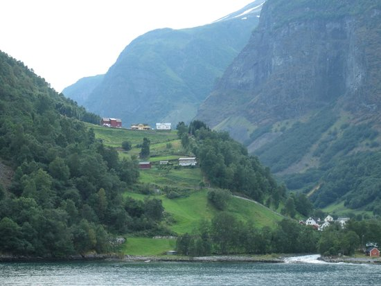Fjord Tours: From the ferry, town on the fjord