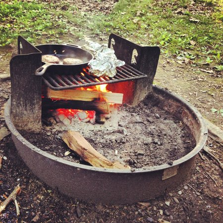 Lewis Mountain Cabins: cooking on the fire