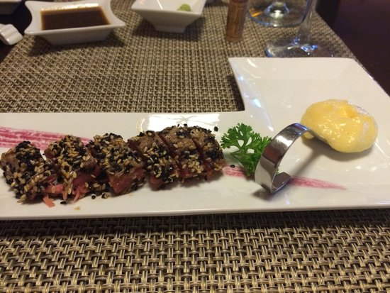 Playacar Palace : one course of an amazing dinner at MoMoNoHana Restaurant in the hotel