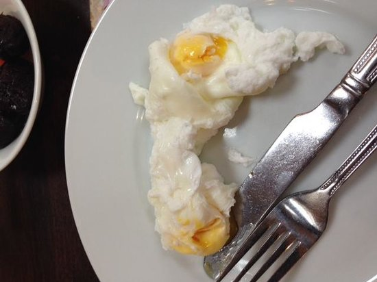 Marston, UK: soft poached eggs as they arrived