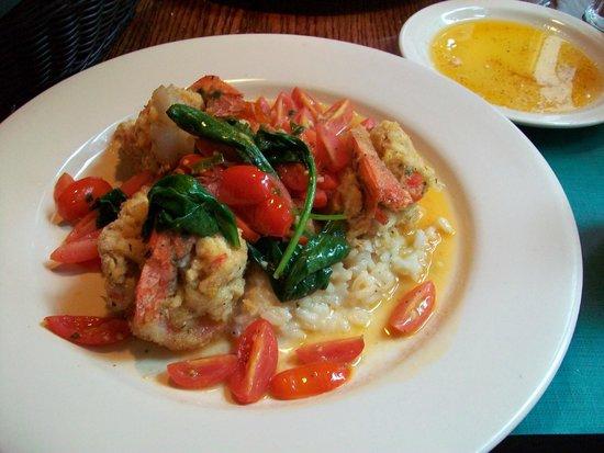 Colao's : Stuffed prawn over lemon risotto