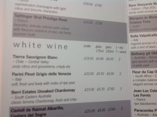 Novotel Sheffield Centre : wine list