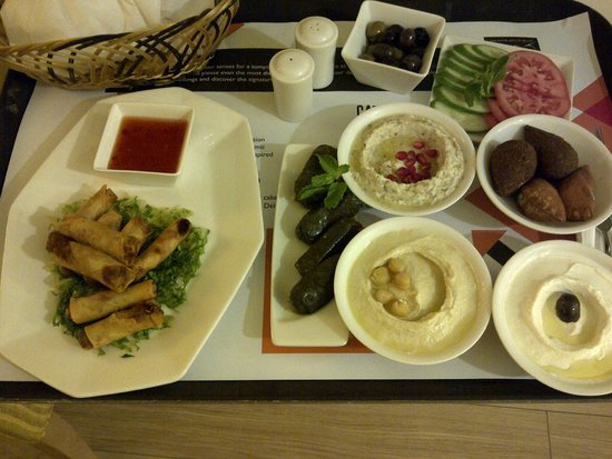 Al Khoory Executive Hotel – Al Wasl: Room service: lebanese appetizers & spring rolls