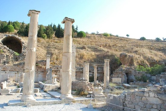 The Prytaneion: Repaired columns.