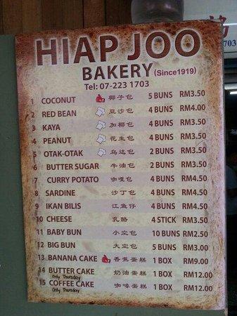Hiap Joo Bakery: Price list